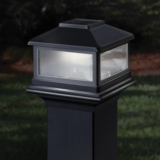 deckorators solar post cap light. Black Bedroom Furniture Sets. Home Design Ideas