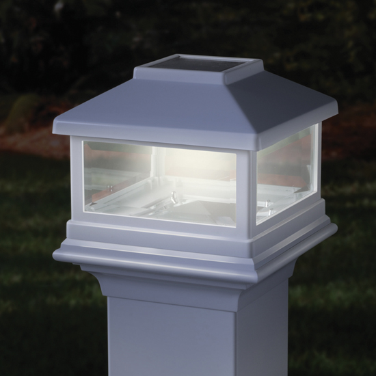 deckorators solar post cap light. Black Bedroom Furniture Sets. Home Design Ideas