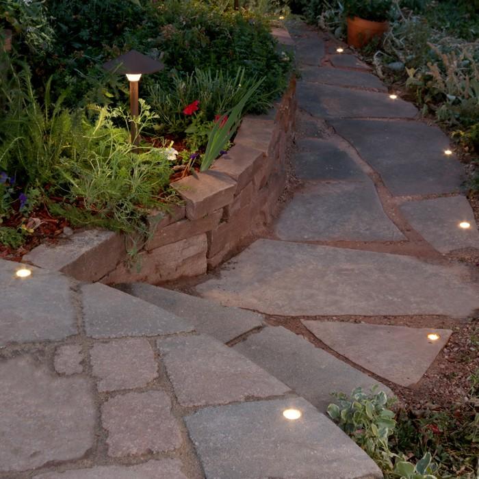 Dekor led paver dots for Outside walkway lights