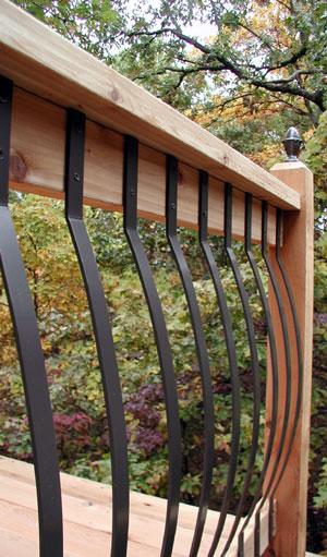 "Black Metal Balcony Railing Idea In Modern Minimalist: 32.25"" Arc Deck Baluster"
