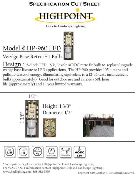 Highpoint Wedge Base LED Bulb