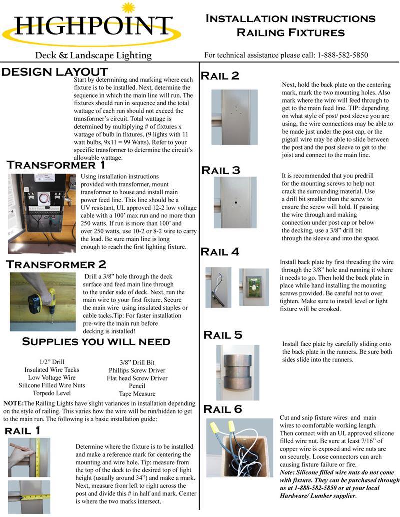 Highpoint Lake Powell Deck Rail Light Kit